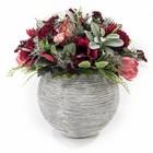 Groendecoratie Rood in Design pot Wit/Grijs H60cm