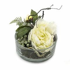 Groendecoratie in glazen vaas H18cm