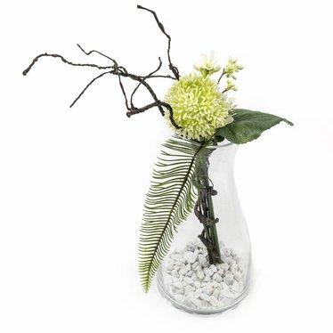 Groendecoratie in glazen vaas H45cm