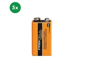 Duracell Alkaline 9 Volt (LR61) blok batterij 5x