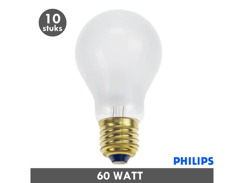 Philips Gloeilamp 60 Watt mat E27 set van 10