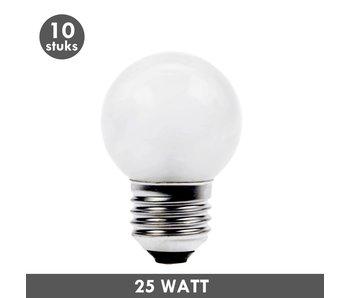 ET48 Kogellamp 25 Watt mat E27 set van 10