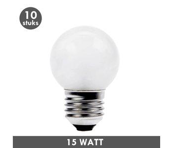 ET48 Kogellamp 15 Watt mat E27 set van 10
