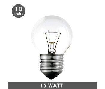 ET48 Kogellamp 15 Watt helder E27 set van 10
