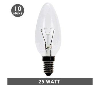 ET48 Kaarslamp 25 Watt helder E14 set van 10