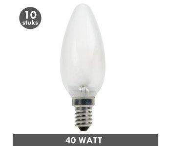ET48 Kaarslamp 40 Watt mat E14 set van 10