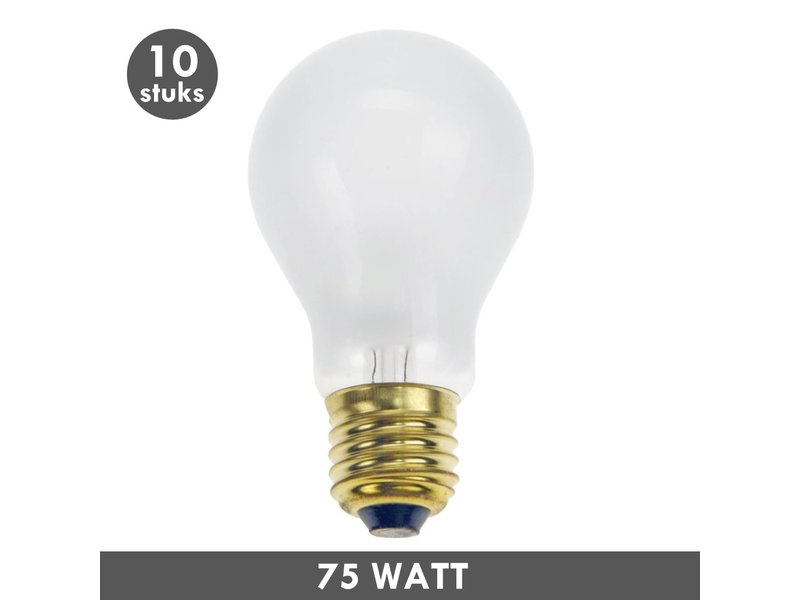 ET48 Gloeilamp 75 Watt mat E27 set van 10