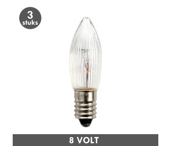 ET48 Candle clear rib E10 3 Watt 8 Volt