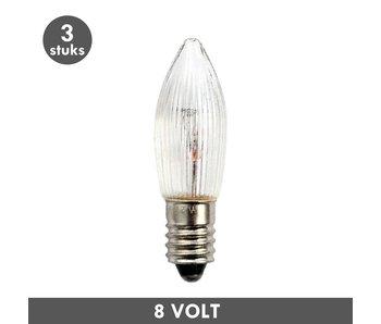 ET48 Kaars kerstlampje helder geribbeld E10 3 Watt 8 Volt