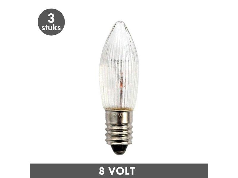 ET48 Noël lampe de bougie clair nervuré E10 3 Watt 8 Volt