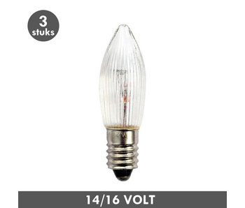 ET48 Candle clear rib E10 ​​3 Watt 14/16 Volt