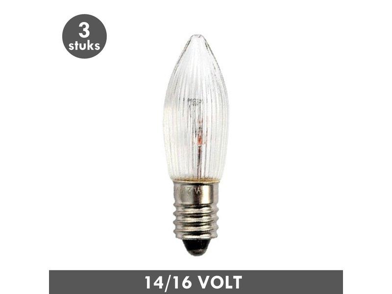 ET48 Noël lampe de bougie clair nervuré E10 3 Watt 14/16 Volt