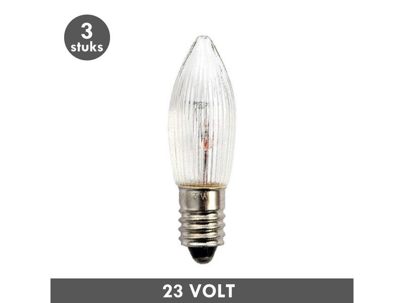 ET48 Christmas candle lamp clear ribbed E10 3 Watt 23 Volt