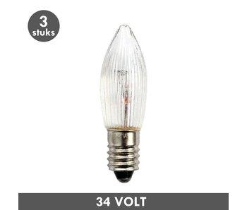 ET48 Kaars kerstlampje helder geribbeld E10 3 Watt 34 Volt