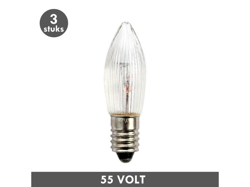 ET48 Noël lampe de bougie clair nervuré E10 3 Watt 55 Volt