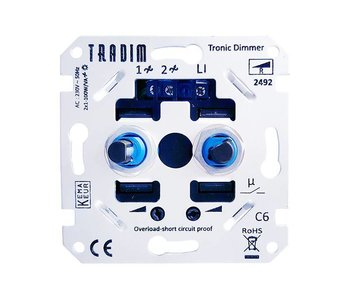 Tradim 2492EXOP LED duo dimmer 2x 3 -100 Watt