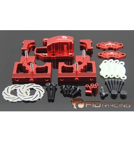FIDRacing Centre Diff Bracket Adjustable Calipers Version (silver and red)
