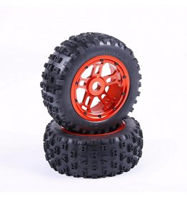 RovanLosi LT truck parts Strong Knobby Tyres with CNC ALLOY wheel hubs set (2 pcs) 180x70