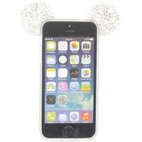 iPhone 5/5 hoesje - Muis strass steentjes zilver