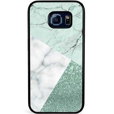 Casimoda Samsung Galaxy S6 Edge hoesje - Minty marmer collage