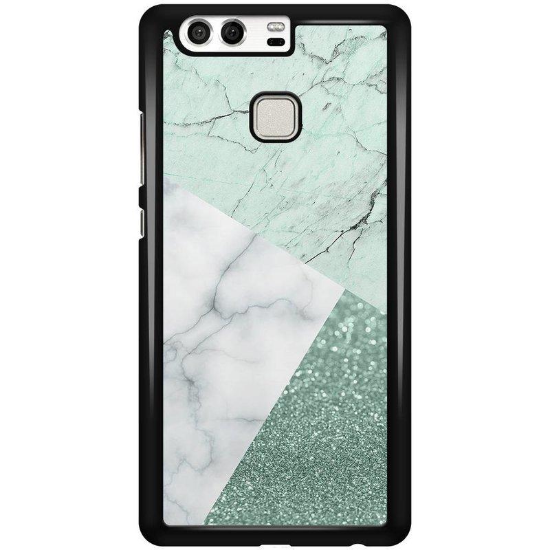 Casimoda Huawei P9 hoesje - Minty marmer collage