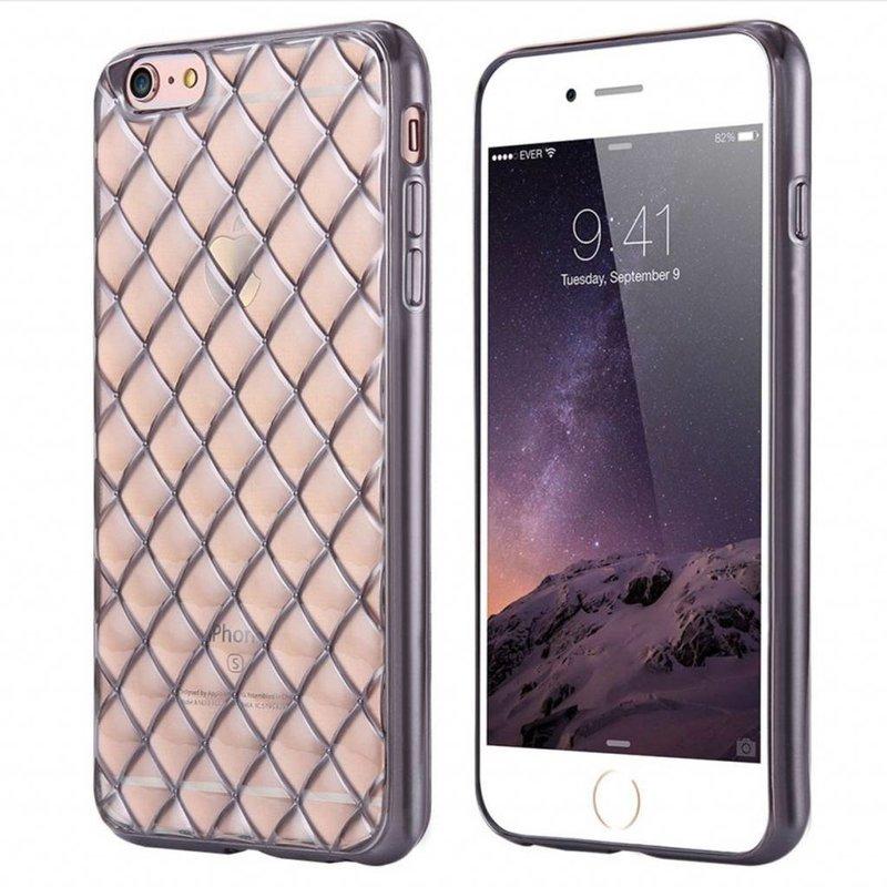 iPhone 6/6S siliconen hoesje - Raster zilver