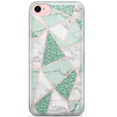 Casimoda iPhone 8 / 7 transparant hoesje - Minty marmer collage