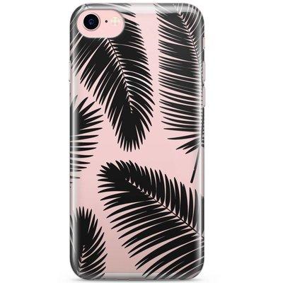 Casimoda iPhone 8 / 7 transparant hoesje - Palm leaves silhouette