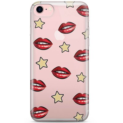 Casimoda iPhone 7 transparant hoesje - Lips & stars