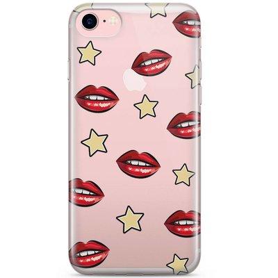 Casimoda iPhone 8 / 7 transparant hoesje - Lips & stars