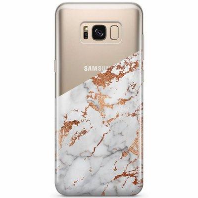 Casimoda Samsung Galaxy S8 transparant hoesje - Marmer rosegoud