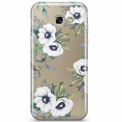 Casimoda Samsung Galaxy A3 2017 transparant hoesje - Bloemenprint wit