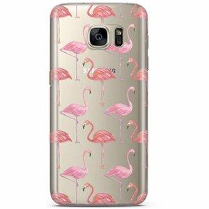Samsung Galaxy S7 transparant hoesje - Flamingo