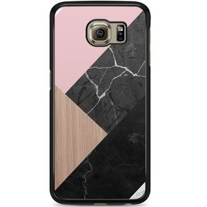 Samsung Galaxy S6 hoesje - Marble wooden mix