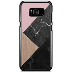 Samsung Galaxy S8 Plus hoesje - Marble wooden mix