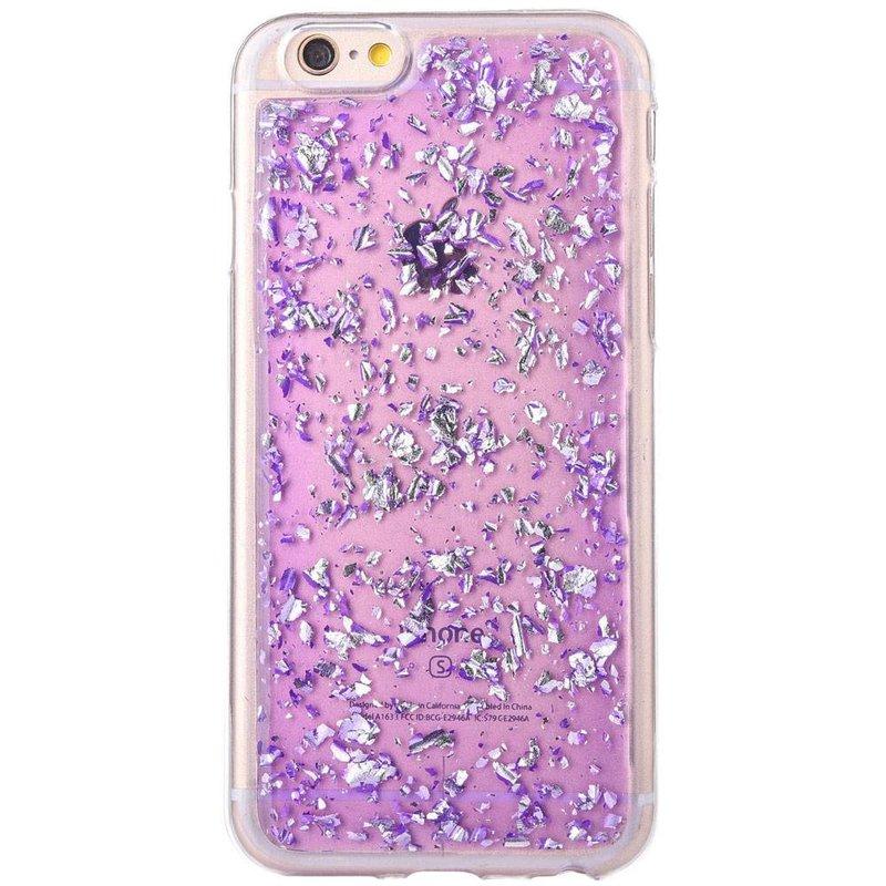iPhone 6/6s siliconen hoesje - Paarse blaadjes
