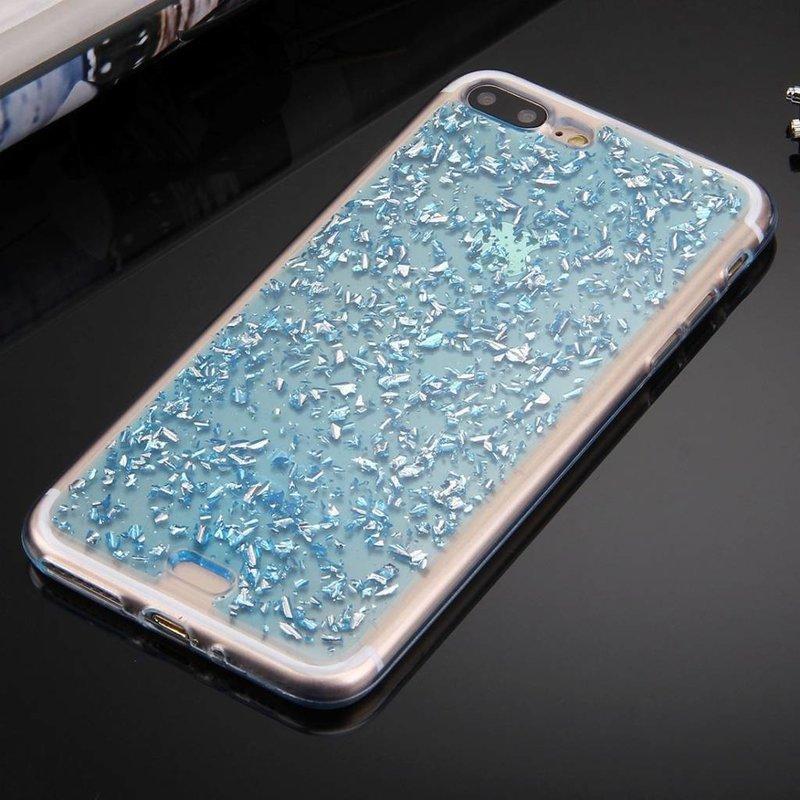 iPhone 7 Plus / iPhone 8 Plus siliconen hoesje - Blauwe blaadjes