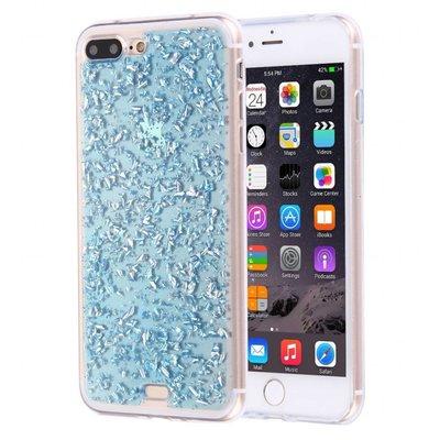 Casimoda iPhone 7 Plus / iPhone 8 Plus siliconen hoesje - Blauwe blaadjes