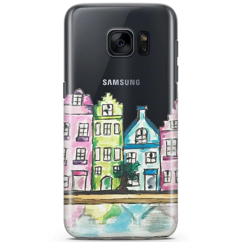 Samsung Galaxy S7 siliconen hoesje - Amsterdam grachtenpanden