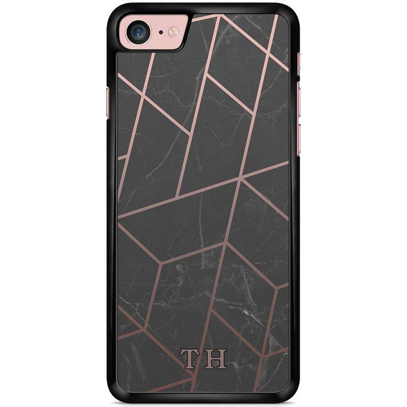 Casimoda Telefoonhoesje met naam - Marble grid