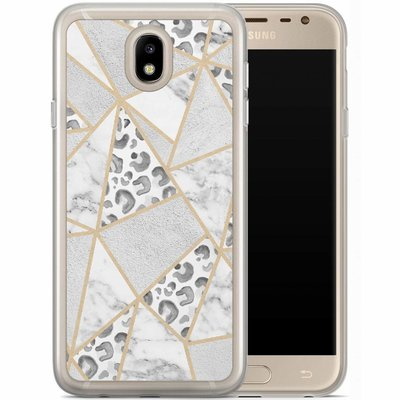 Casimoda Samsung Galaxy J7 2017 siliconen hoesje - Stone & leopard print