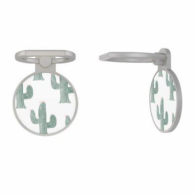 Casimoda Zilveren telefoon ring houder - Cactus print
