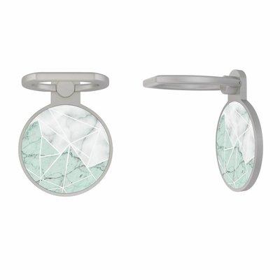 Casimoda Zilveren telefoon ring houder - Marmer mint mix