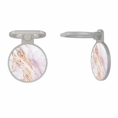 Casimoda Zilveren telefoon ring houder - Parelmoer marmer
