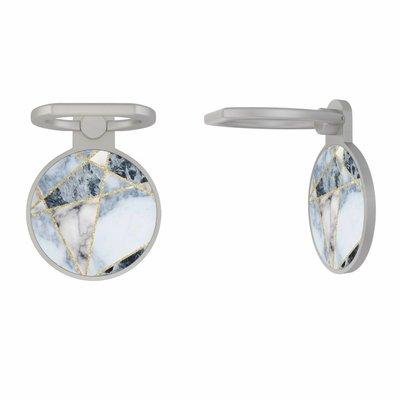 Casimoda Zilveren telefoon ring houder - Marmer blauw