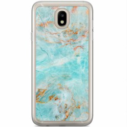 Samsung Galaxy J3 2017 siliconen hoesje - Turquoise marmer
