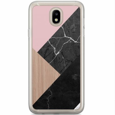 Casimoda Samsung Galaxy J7 2017 siliconen hoesje - Marble wooden mix
