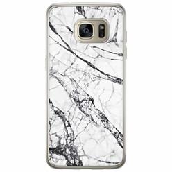 Samsung Galaxy S7 Edge siliconen hoesje - Grijs marmer