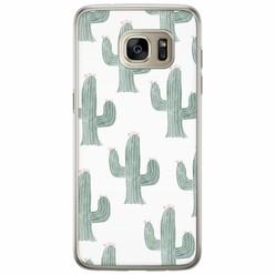 Samsung Galaxy S7 Edge siliconen hoesje - Cactus print