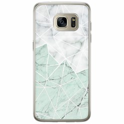 Samsung Galaxy S7 Edge siliconen hoesje - Marmer mint mix